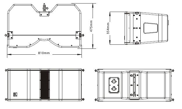 外置3分频双12英寸防水全频线性阵列扬声器尺寸图
