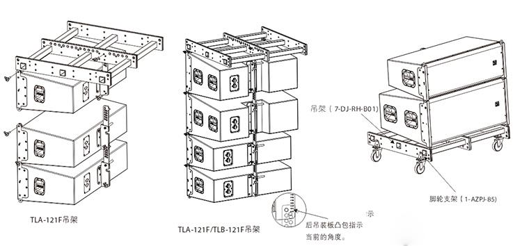外置2分频双12英寸防水全频线性阵列扬声器安装图