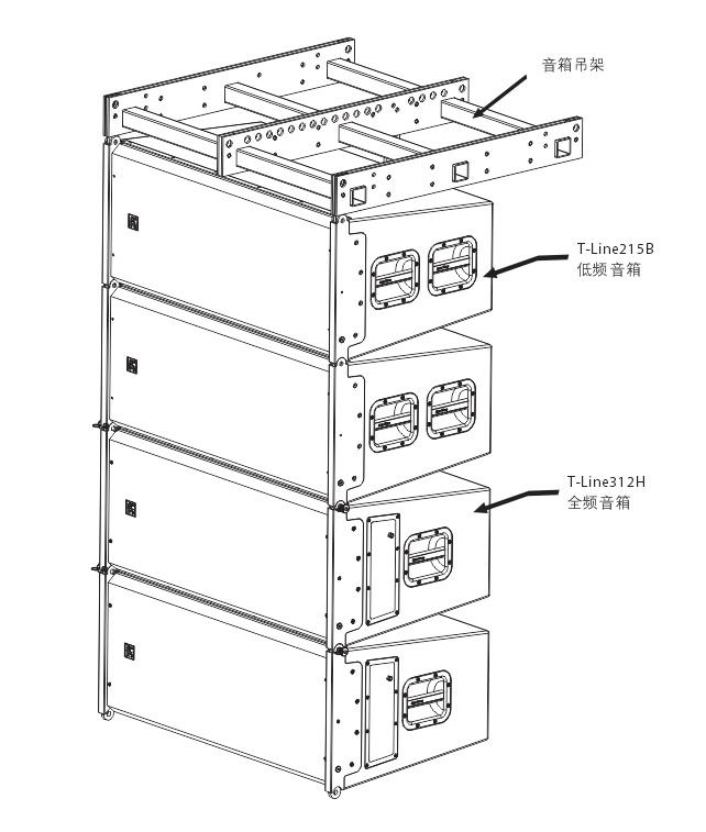 外置3分频9单元双12英寸防水全频线性阵列扬声器安装图