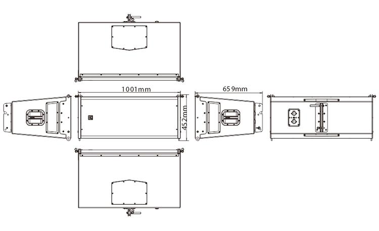 外置3分频9单元双12英寸防水全频线性阵列扬声器尺寸图