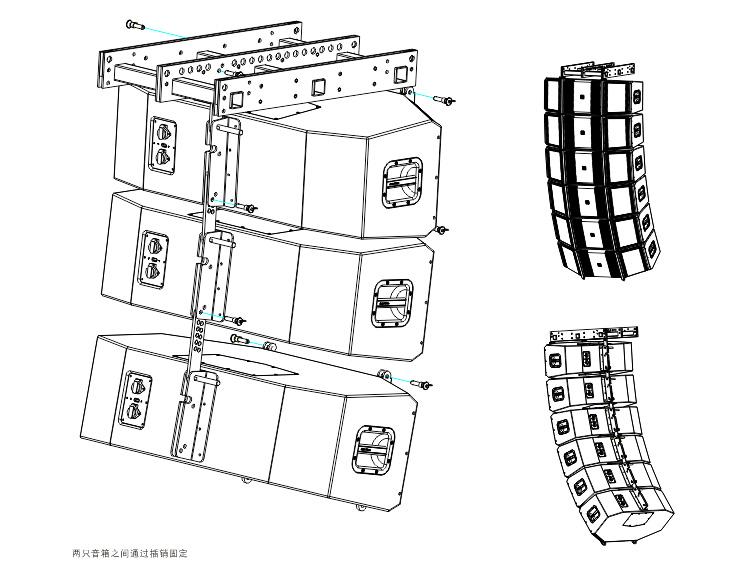 外置3分频9单元双12英寸全频线性阵列扬声器安装图